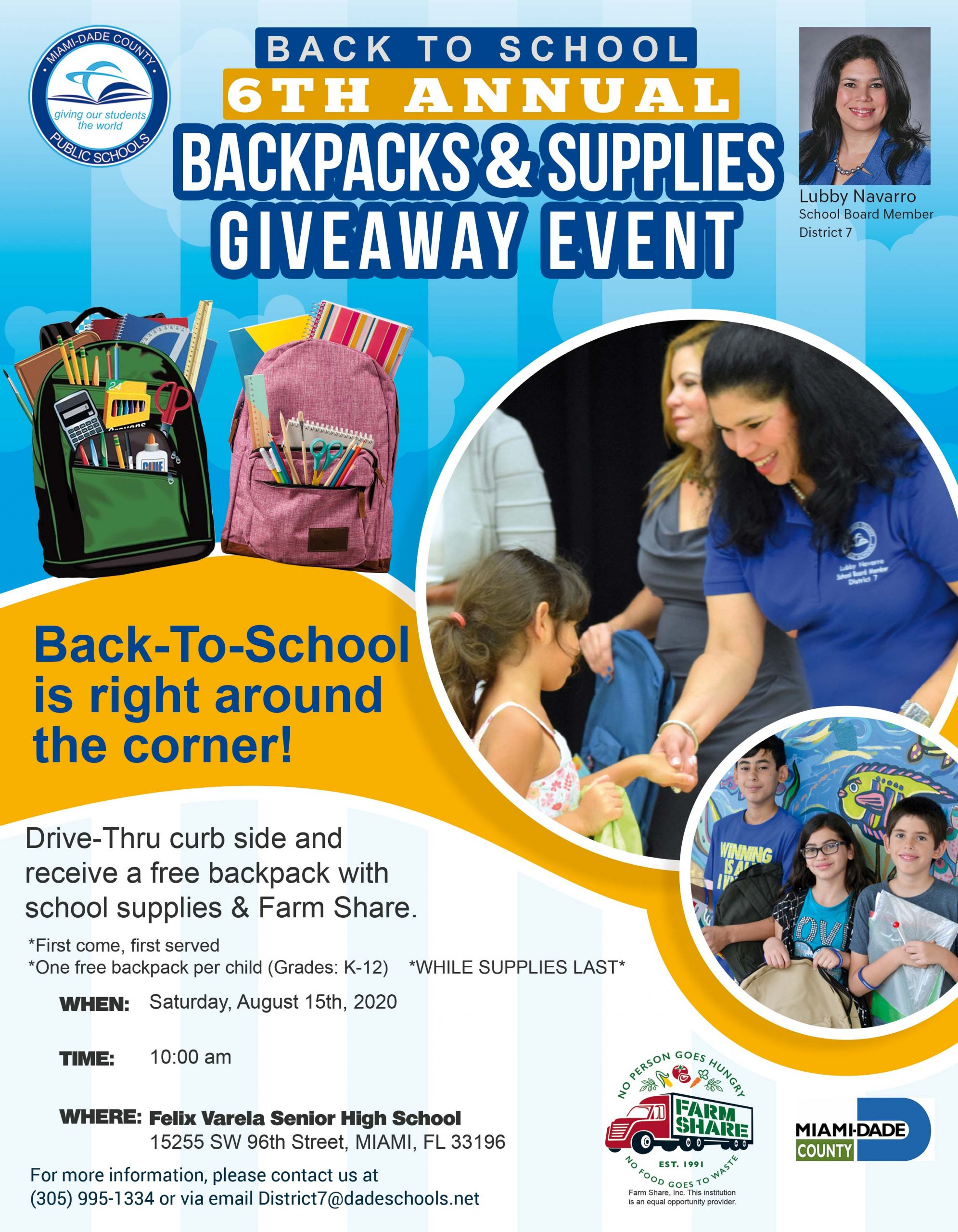 District 7 Backpacks & Supplies Giveaway @ Felix Varela Senior High | Miami | Florida | United States